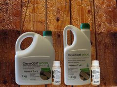 All packing for CleverCOAT wood premier with additive stain bottles