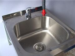Protected steel sink