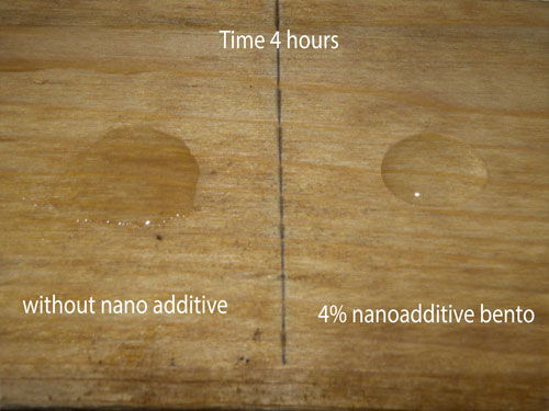 Water drop in painted wood with/without additive in 4 hours