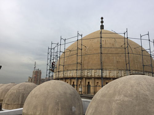 Mosque before treatment with concrete impregnation
